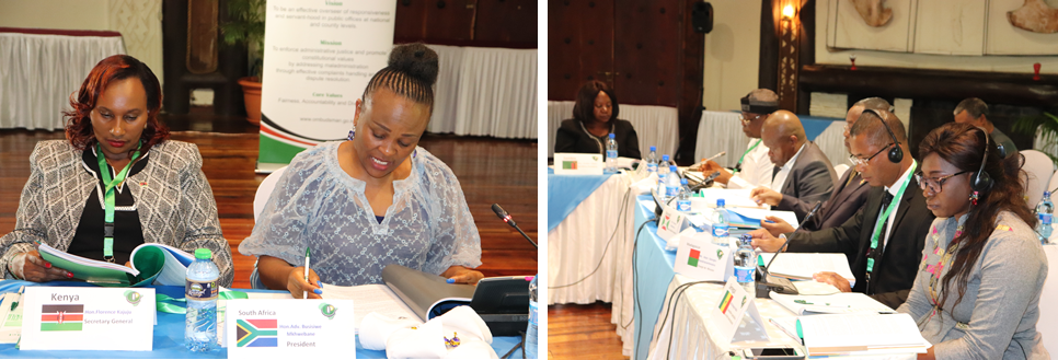 Members of the Africa Ombudsman and Mediators Association (AOMA) Executive Committee during a meeting in Nairobi.